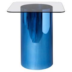 MMPM Minimalist Side Table, Tinted Glass with Polished Aluminium Tubular Base