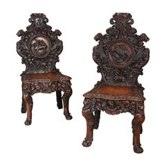 Pair of 19th Century Exhibition Quality Carved Oak Chairs of Large Proportion