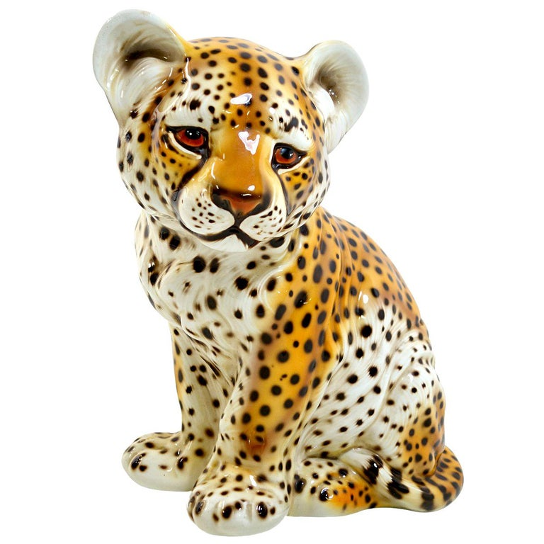 Midcentury Ceramic Statuette of a Baby Panther in the Style of Ronzan For Sale