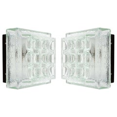 Pair of Square Limburg Sconces Flush Mount Lights, Textured Glass Black Metal
