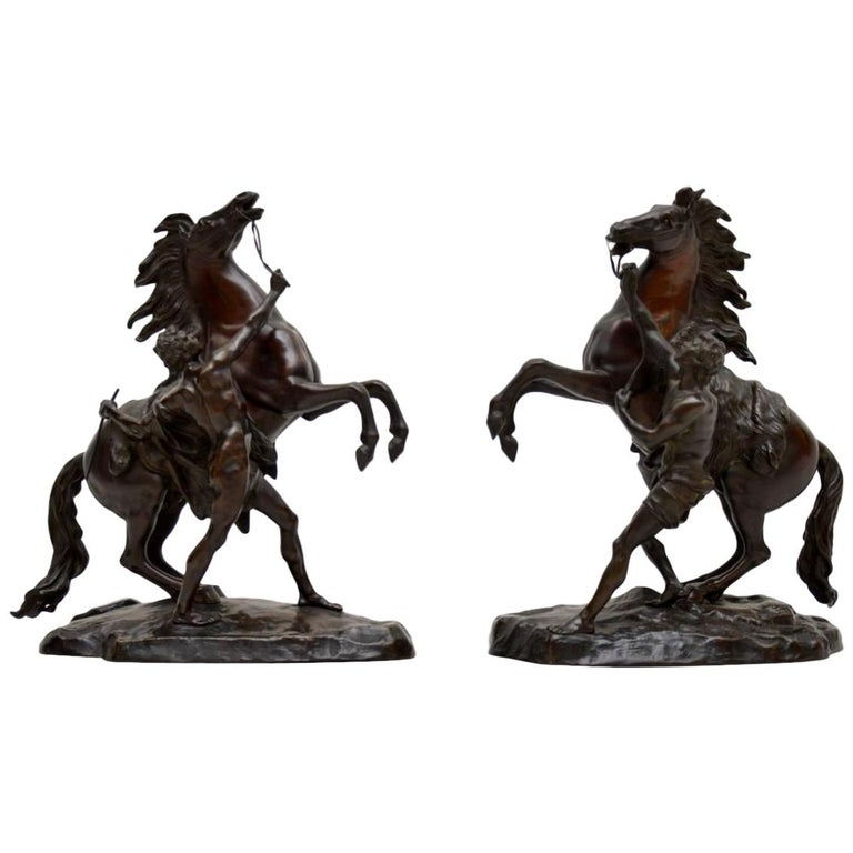 Pair of Antique 19th Century Bronze Sculptures by Guillaume Coustou For Sale