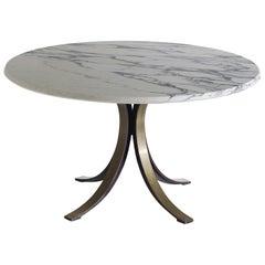 Italian Steel and Marble Model T69 Series Table designed by Osvaldo Borsani