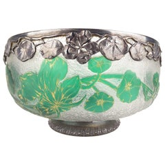 1890s Daum Nancy Art Nouveau Bowl with Squash Blossom, Silver Overlay, 1900s