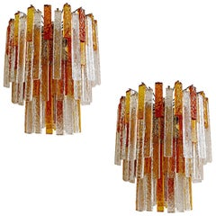 Pair  Large Mazzega Murano Glass Chandelier Pendant Light, Venini Gio Ponti Era