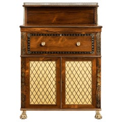 Regency Brass-Inlaid Rosewood Secretaire Cabinet