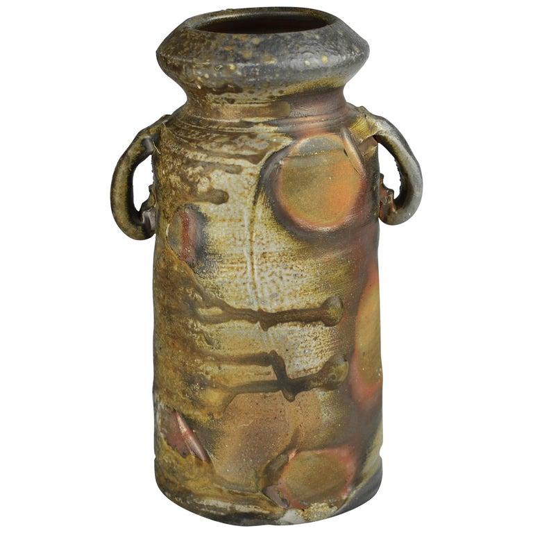 Wood-Fired Naturally Ash-Glazed Brown Bizen Flower Vase by Kimura Sojo For Sale
