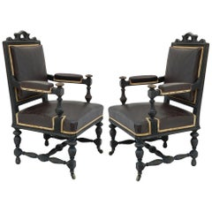 Four 19th Century Conference Armchairs Price per Pair including recovering