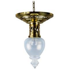 Jugendstil Ceiling Lamp circa 1908 with Original Opaline Glass Shade