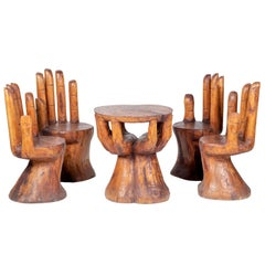 Hand Shaped Fruit Wood Set of Table and Four Chairs