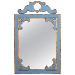 1980s French Blue Wooden Decorative Mirror