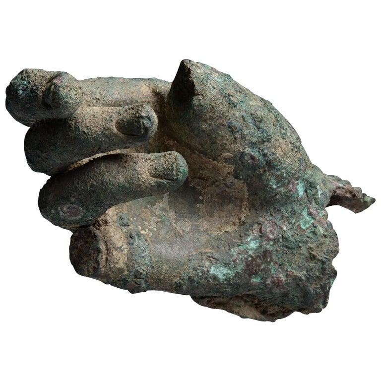 Ancient Hellenistic, Roman Bronze Statue Fragment, 100 BC For Sale