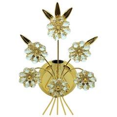 "Single Vintage Gold-Plated ""Palwa"" Crystal Flower Sconces"
