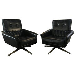 Mid-Century Modern Pair of Italian Black Revolving Office Armchairs, 1960s