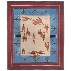 21st Century Blue White and Red Linde Burkhardt Birds Nepalese Wool and Viscose