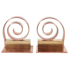 Art Deco Machine Age Copper & Brass Bookends by Walter Von Nessen for Chase Co