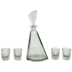 Art Deco Czechoslovakian 5-Piece Faceted Decanter Set in Hand Blown Smoked Glass