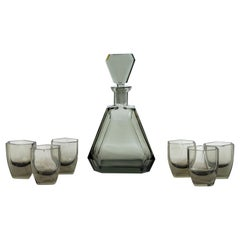 Art Deco Czech Cubist Decanter Set with Six-Shot Glass in Clear Graphite Glass