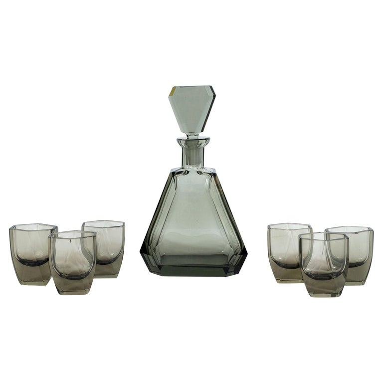 Art Deco Czech Cubist Decanter Set with Six-Shot Glass in Clear Graphite Glass For Sale