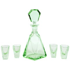 Art Deco Machine Age Czech Five-Piece Faceted Emerald Glass Decanter Set