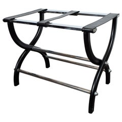 Mid-Century Modern Stylized X-Form Luggage Rack in Ebonized Walnut & Chrome