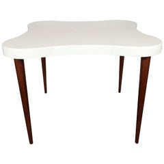 "Midcentury ""Amoeba"" Table with Conical Mahogany Legs & Cork Top by Paul Frankl"