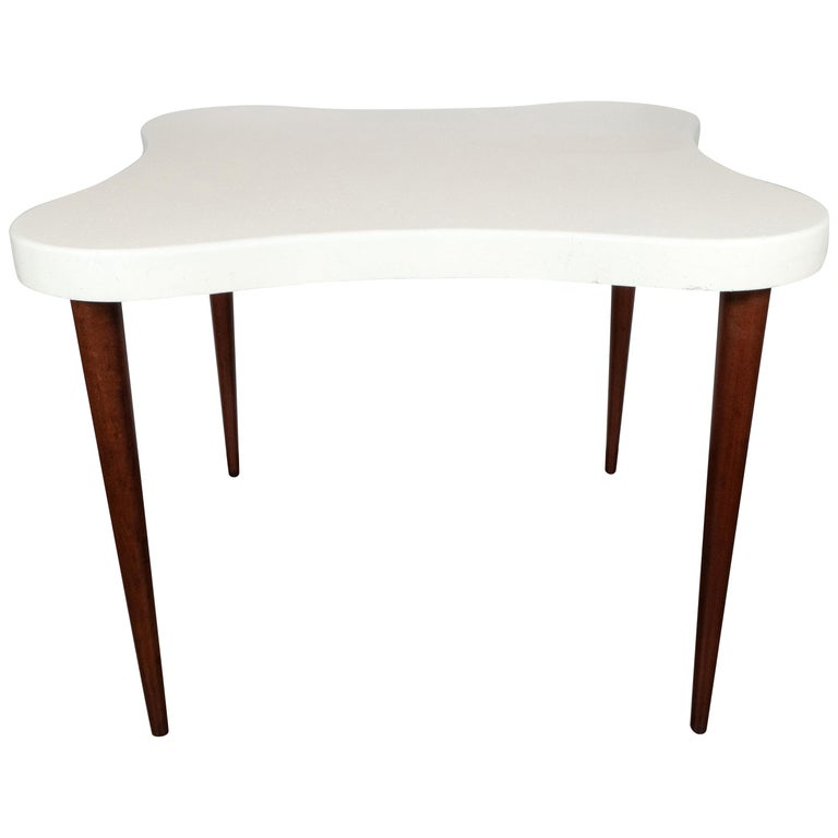 """Midcentury """"Amoeba"""" Table with Conical Mahogany Legs & Cork Top by Paul Frankl For Sale"""