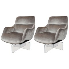 Midcentury Lucite and Platinum Velvet Swivel Lounge Chairs by Vladimir Kagan