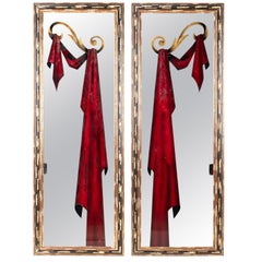 1980s Pair of French Framed Mirrors with Hand Painted Red Curtains