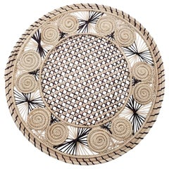 Brown and Cream Round Iraca Fibre Placemat