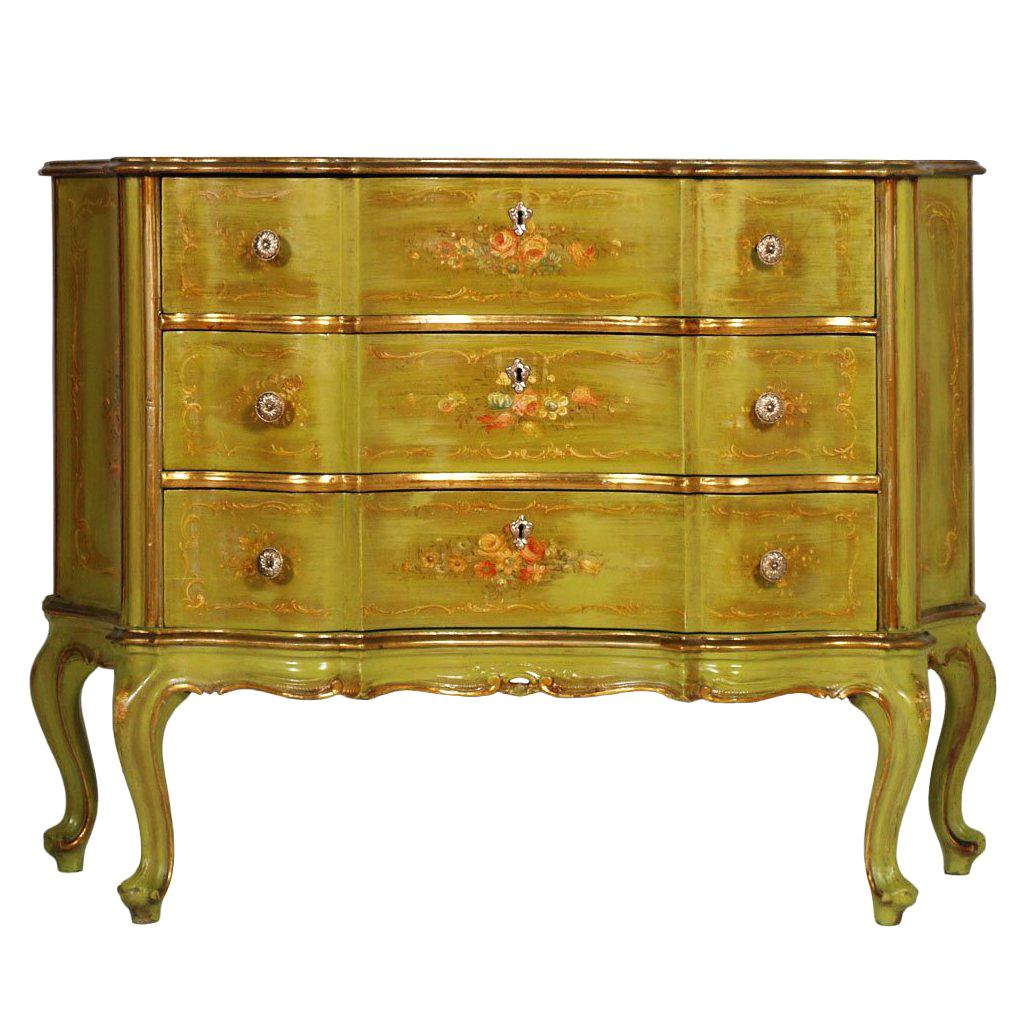 1920s, Venetian Baroque Commode, Chest of Drawers, Hand Painted, Edges Gold Leaf
