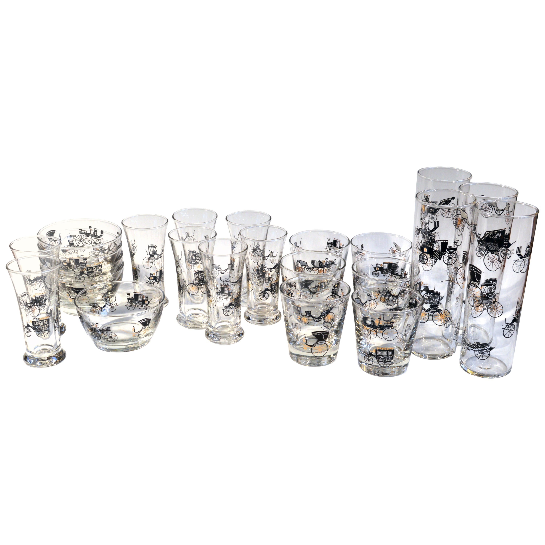 Vintage Libbey Bar Glasses, Curio Line Designed by Freda Diamond, 1950s