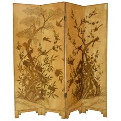 19th Century French Chinoiserie Lacquer Four-Panel Screen, Paravent, 1890s