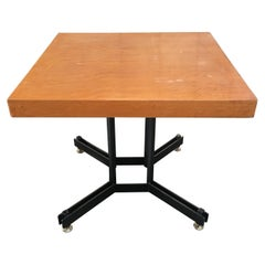 Mid-Century Modern Italian Black Iron Base Table with Wood Top, 1970s