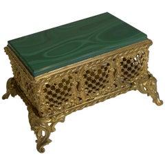 Antique French Malachite Box, circa 1890