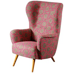 Typial Italian Wingback Armchair 1950, Attributed to Paolo Buffa