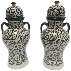 Pair of Moorish Glazed Ceramic Urns with Arabic Calligraphy from Fez