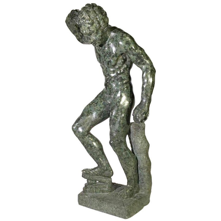 Mid-19th Century Italian Marble Sculpture of a Dancing Satyr For Sale