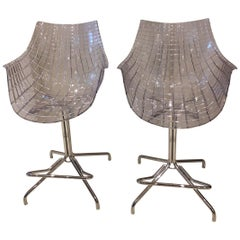 Pair of Counter Stools in Chromed Steel and Polycarbonate Seat by Driade