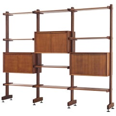 Midcentury Italian Teak Adjustable Modular Bookcase and Shelving Unit