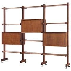 Midcentury Italian Teak Adjustable Modular Bookcase and Shelving Unit