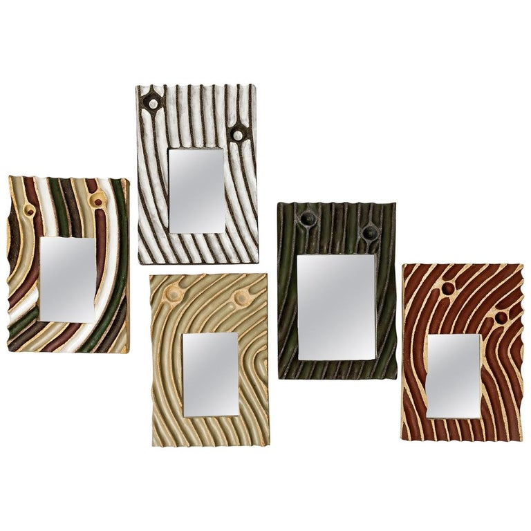 Set of Five Ceramic Mirrors by Hervé Taquet, 2019 For Sale