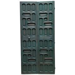 Double Panel Moroccan Wooden Door, Hunter Green 23ND47
