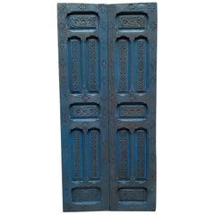 Double Panel Moroccan Wooden Door, True Blue 23ND48