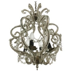 "Silvered ""Montgolfiere"" Style Chandelier, Glass Beads Throughout, France, 1960"
