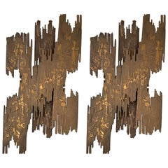 Pair of Bronze Sconces Brutalist Sculpture, France, 1970s