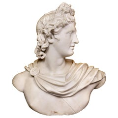 Italian White Marble Bust of Apollo Belvedere with Bauhaus Design Pedestal Base
