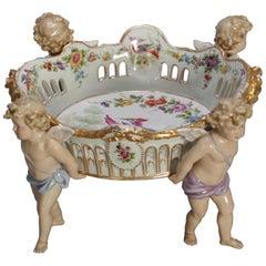 Antique German Schierholtz Figural Hand Painted Porcelain Cherub Bowl