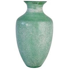 Large Italian Seguso Vetri d'Arte Green 'Scavo' Murano Glass Vintage Floor Vase