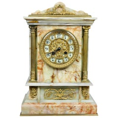 French Onyx and Bronze Mantle Clock Retailed by Bailey Banks & Biddle