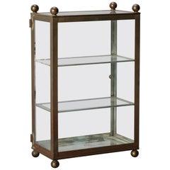 Antique Brass & Glass Table Top Jewelry & Trinket Vitrine Showcase, 20th Century